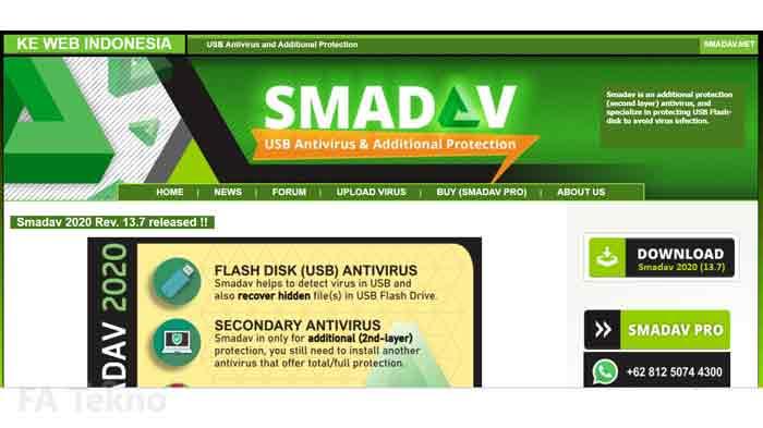 Tampilan halaman situs resmi Smadav